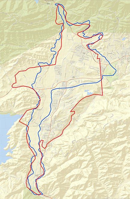 Map showing Upper Ventura River Groundwater Basin boundaries, current and proposed, and parcels.