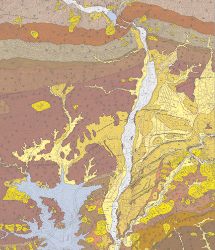 USGS Quad Map showing geology of the Upper Ventura River Groundwater Basin